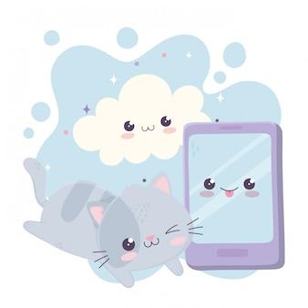 Schattige kleine kat met smartphone cloud kawaii stripfiguur