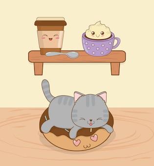 Schattige kleine kat met zoete donut kawaii karakter
