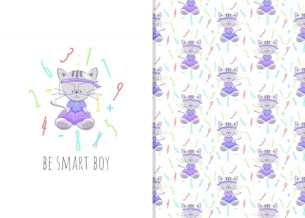 Schattige kleine kat stripfiguur met boeken, illustraties en naadloze patronen voor kinderen