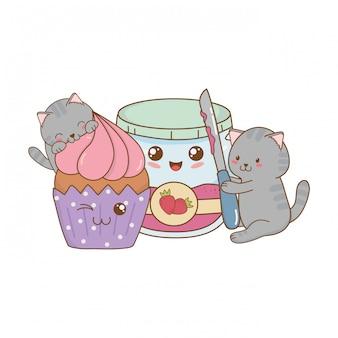 Schattige kleine katten met aardbei jam kawaii tekens Premium Vector