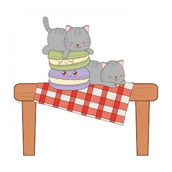 Schattige kleine katten met cookies kawaii tekens Premium Vector
