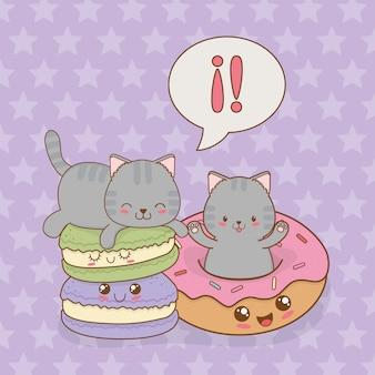 Schattige kleine katten met donuts kawaii karakters