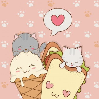 Schattige kleine katten met ijs en sandwich kawaii tekens