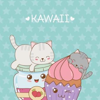 Schattige kleine katten met jam en cupcake kawaii tekens