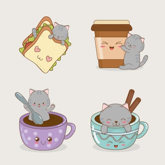 Schattige kleine katten met kawaiikarakters van emoticons
