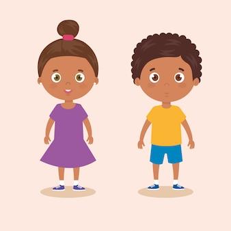Schattige kleine kinderen afro avatar karakter