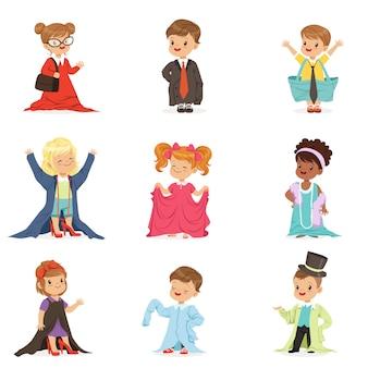 Schattige kleine kinderen dragen volwassen oversized kleding set, kinderen doen alsof ze volwassenen illustraties zijn
