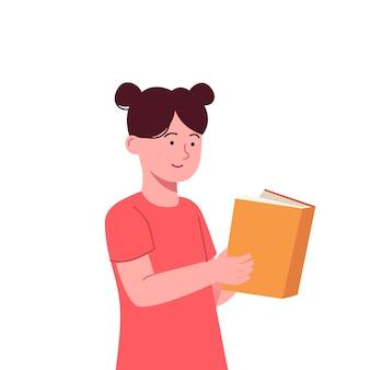 Schattige kleine kinderen lezen boek vlakke afbeelding