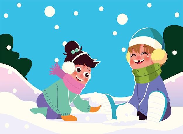 Schattige kleine kinderen spelen sneeuw in warme kleren vectorillustratie