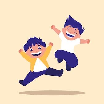 Schattige kleine kinderen springen avatar karakter