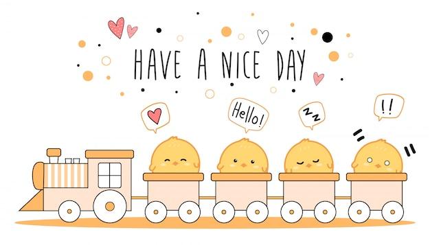 Schattige kleine kippen op de trein cartoon doodle banner
