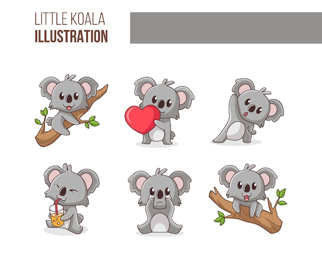 Schattige kleine koala illustratie set