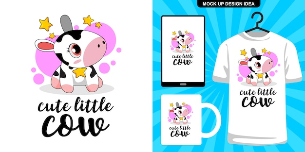 Schattige kleine koe illustratie en merchandising