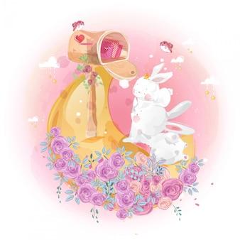 Schattige kleine konijn en maan aan de heldere hemel.