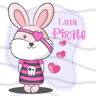 Schattige kleine konijn piraat cartoon vectorillustratie
