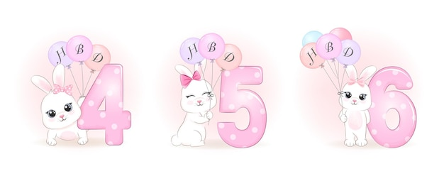 Schattige kleine konijn verjaardagsfeestje met nummer illustratie