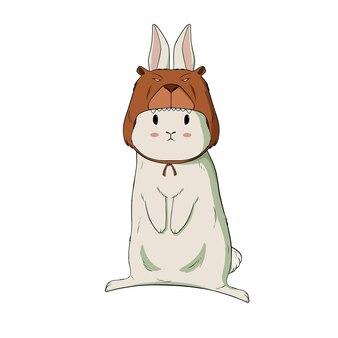 Schattige kleine konijntje draagt beer kostuum