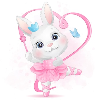 Schattige kleine konijntje met ballerina