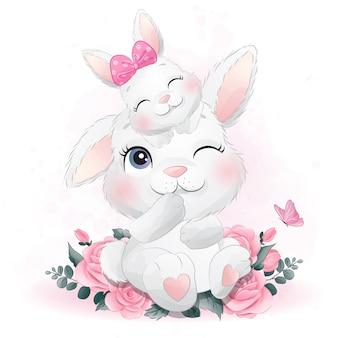 Schattige kleine konijntje moeder en baby