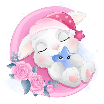 Schattige kleine konijntje slapen in de maan