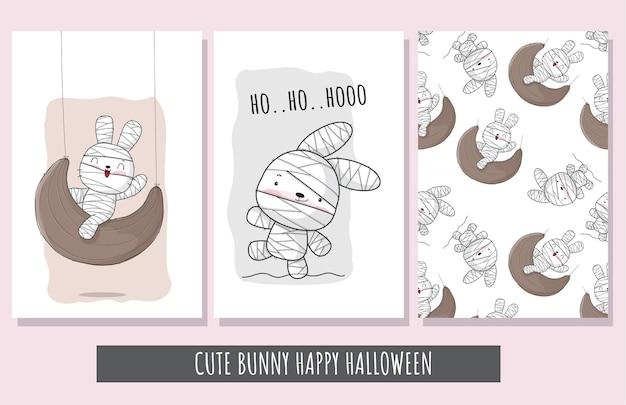 Schattige kleine konijntjes mummie gelukkig halloween met naadloos patroon.