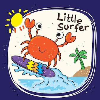 Schattige kleine krab hand getekend voor t-shirt