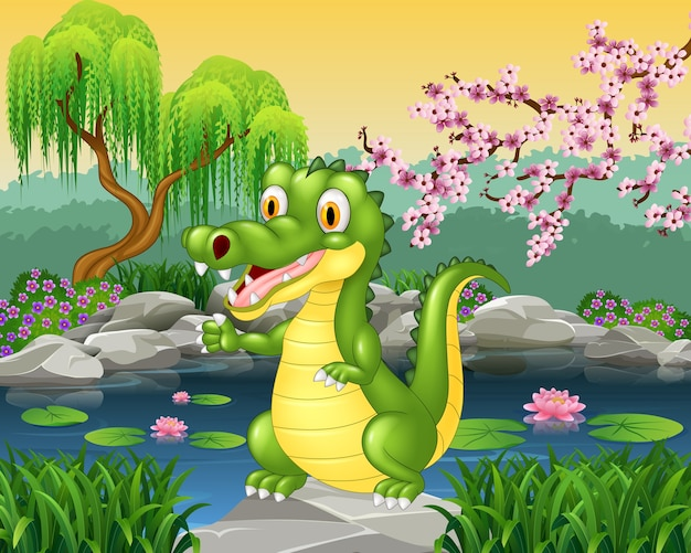 Schattige kleine krokodil presenteren