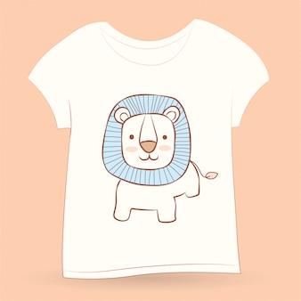 Schattige kleine leeuw hand getekend voor t-shirt