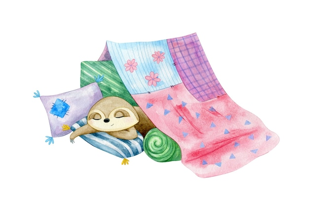 Schattige kleine luiaards slapen in een kussenkasteel. aquarel karakter illustratie