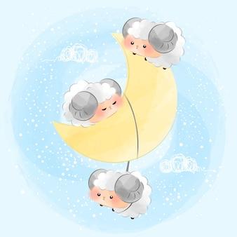 Schattige kleine maan en geiten