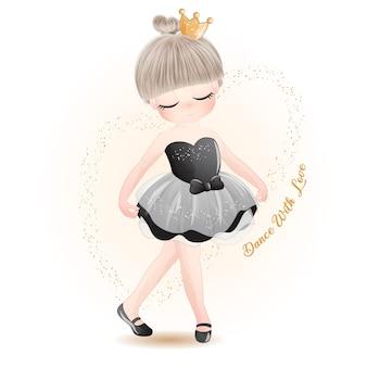 Schattige kleine meisje ballerina met aquarel illustratie