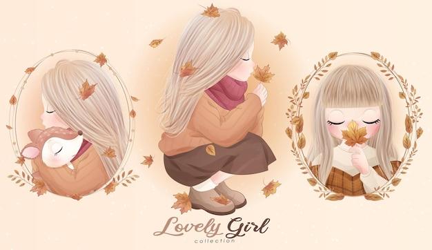 Schattige kleine meisjes met aquarel illustratie set