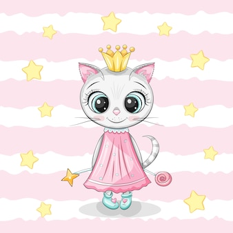 Schattige kleine meisjeskat met gouden kroon