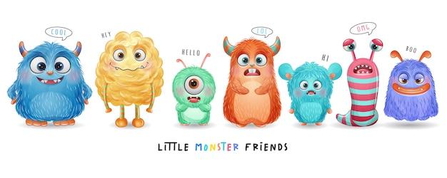 Schattige kleine monster met aquarel illustratie