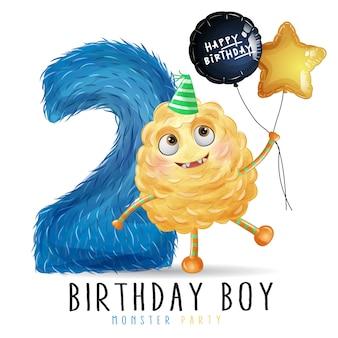 Schattige kleine monster verjaardag met aquarel illustratie