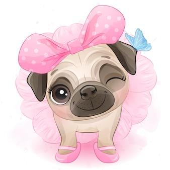 Schattige kleine mopshond met ballerina