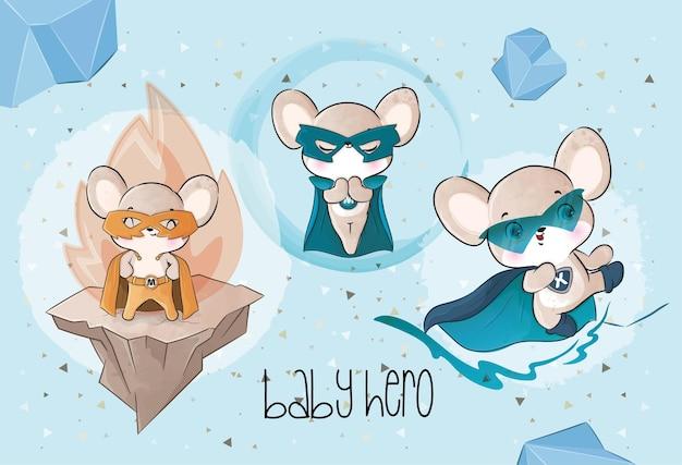 Schattige kleine muis helden team illustratie