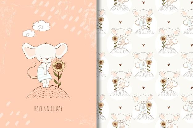 Schattige kleine muis in de hand getekende stijl illustratie. meisjesachtig kaart en naadloos patroon