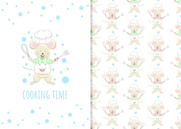Schattige kleine muis stripfiguur, illustratie en naadloze patroon
