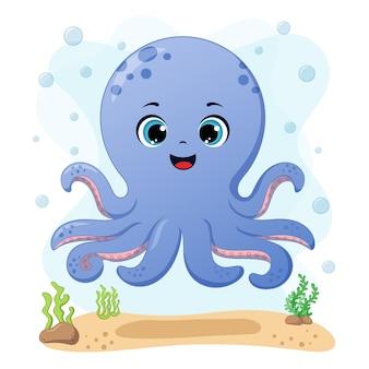 Schattige kleine octopus vectorillustratie