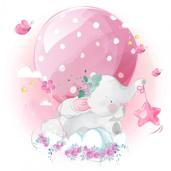 Schattige kleine olifant en ballon in heldere hemel.