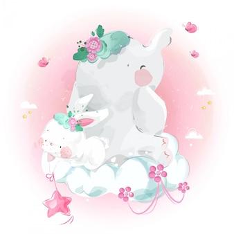 Schattige kleine olifant en konijn op wolk in heldere hemel.