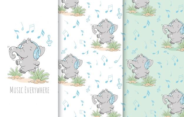 Schattige kleine olifant illustratie, kaart en naadloos patroon.