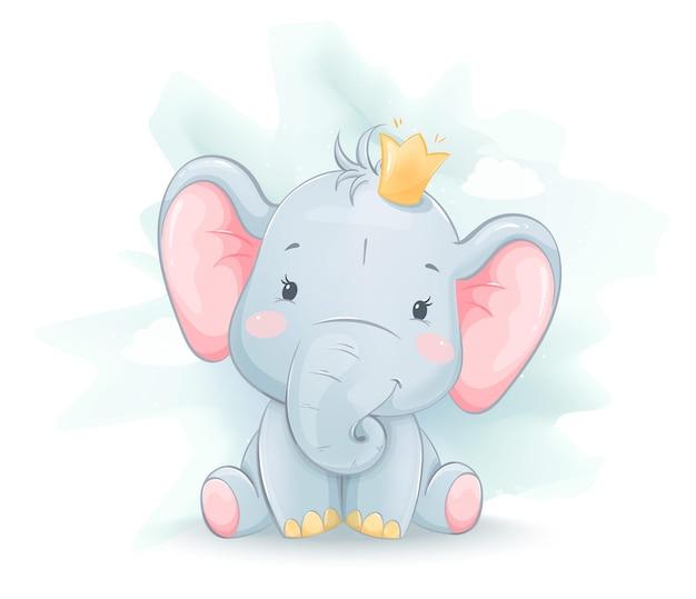 Schattige kleine olifant in kroon. grappig stripfiguur