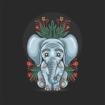 Schattige kleine olifant met bloemenillustratie