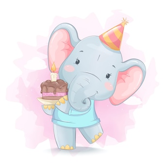 Schattige kleine olifant met cake met kaars