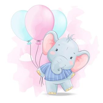 Schattige kleine olifant met kleurrijke ballonnen