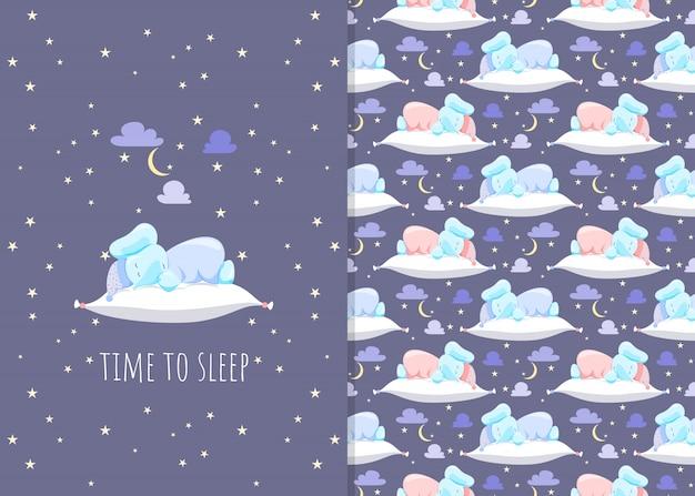 Schattige kleine olifant met kussens, illustraties en naadloze patronen 's nachts voor kinderen