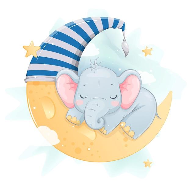 Schattige kleine olifant slapen op de maan grappig stripfiguur