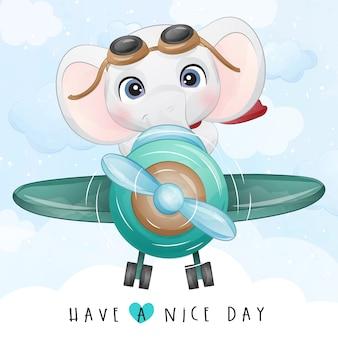 Schattige kleine olifant vliegen met vliegtuig illustratie
